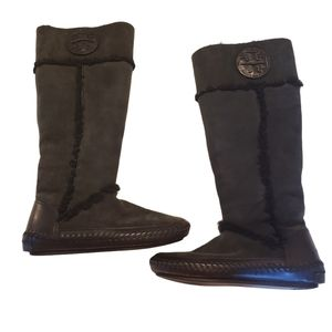 Tory Burch Reva Suede Shearling Moccasin Boots
